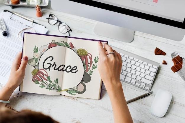 Feminine female grace floral frame