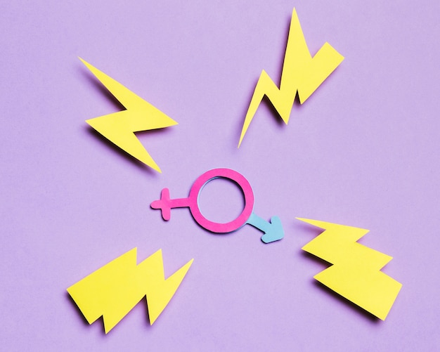 Feminine gender sign and masculine hidden sign with thunders
