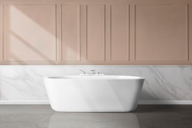 Interior design femminile di lusso del bagno con parete rosa di pannelli