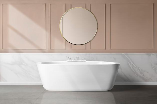 Роскошный женственный дизайн интерьера ванной комнаты с розовой обшивкой стен