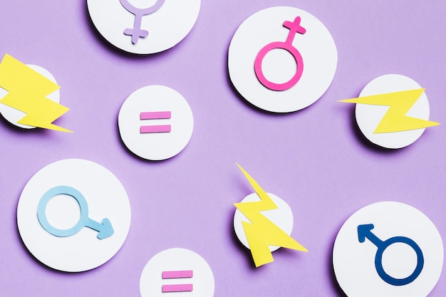 Feminine and masculine gender signs and thunders in bubbles