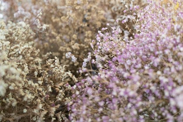 Feminine wedding with dry wildflowers background.