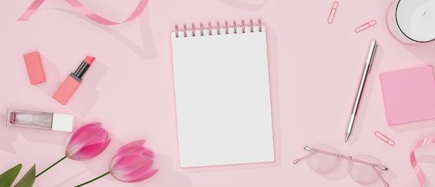 편지지, 안경, 화장품 및 장식이 분홍색 테이블에있는 여성스러운 작업 공간,
