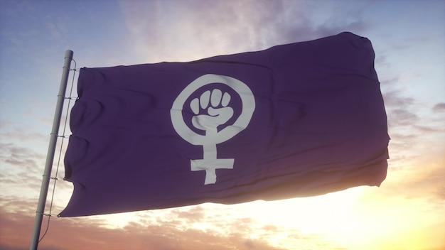 바람, 하늘, 태양 배경에 흔들리는 페미니스트 프라이드 깃발. 3d 렌더링.