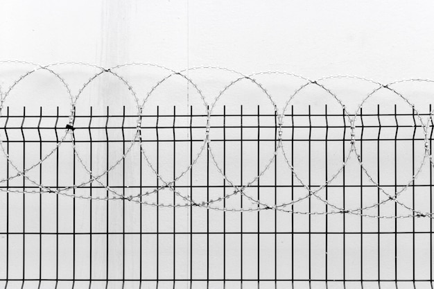 Fence with barbed wire on white wall