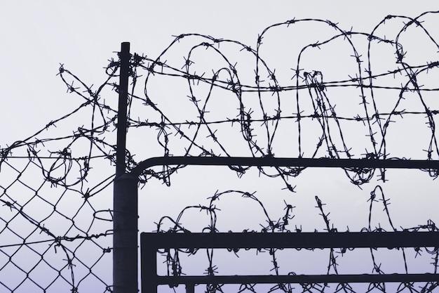 Забор с колючей проволокой Premium Фотографии