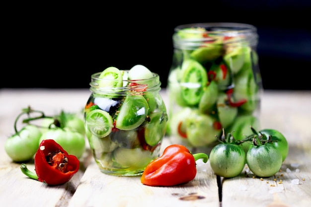 Fermentation of green tomatoes.