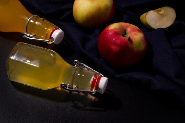 Fermented apple drink in bottles