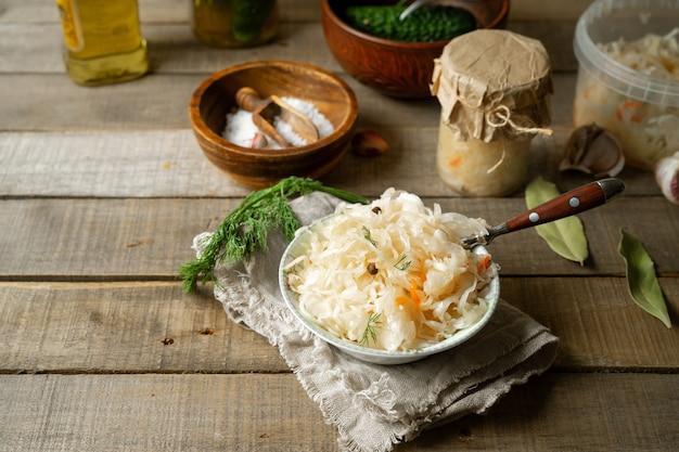 Fermented cabbage, salt, spices