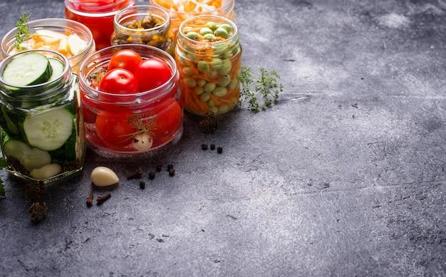 Fermented food, preserved vegetables in jars