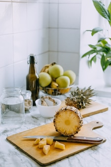 Fermented pineapple kombucha drink tepache cooking process of homemade probiotic superfood pineapple