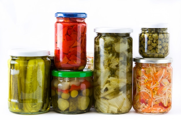 Fermented preserved vegetables in jar isolated