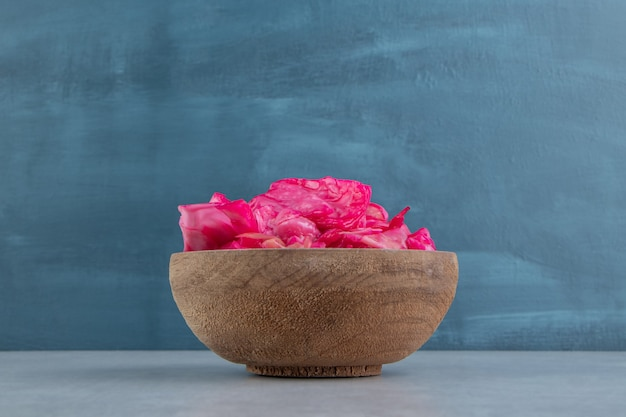 Fermented red cabbage in a bowl