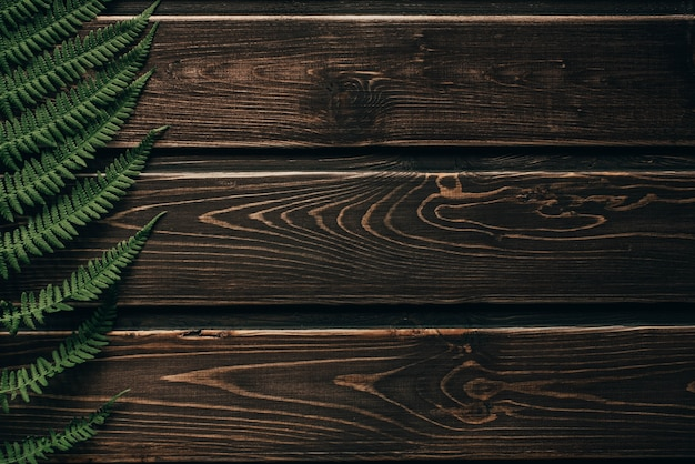 古い木造の背景にシダの葉