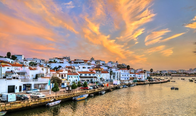 Ferragudo, a traditional fishing village at sunset. algarve, portugal