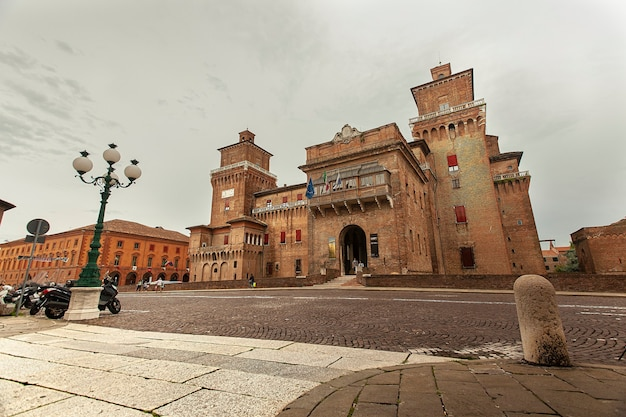 Ferrara, italy 29 july 2020 : evocative view of the castle of ferrara