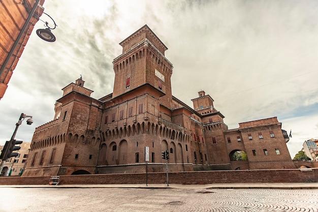 Ferrara, italy 29 july 2020 : ferrara's medieval castle in italy