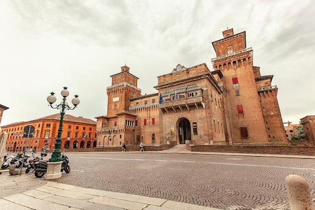 Ferrara, italy 29 july 2020 : medieval castle of ferrara the historical italian city