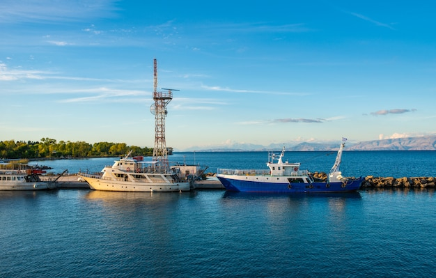 Ferries near corfu island coast.