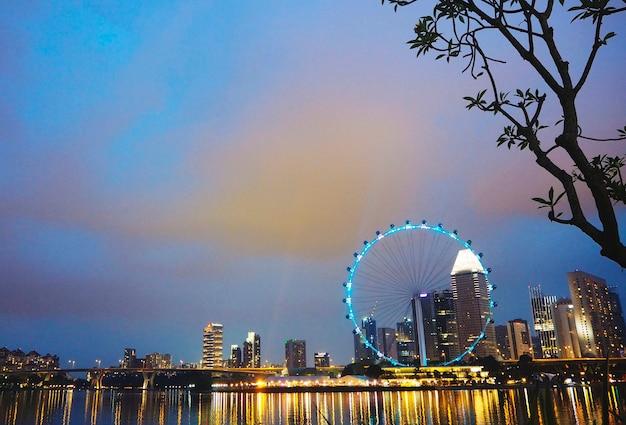 Ferris wheel amusement cityscape city light concept