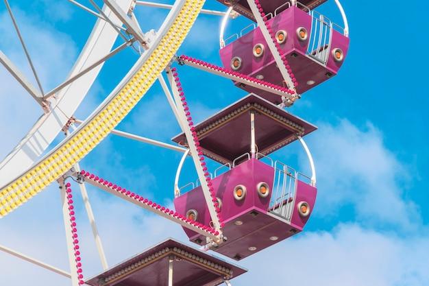 Ferris wheel cabins close up