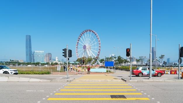 Ferris wheel hong kong city architectural background