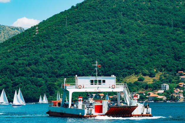 A ferry in the boka bay of kotor in montenegro from lepetane to