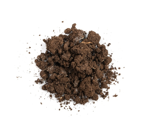 수정된 건조한 흙 토양이 분리되었습니다. 마른 땅 더미, 분뇨 토양, 건조한 흙, 자연적인 검은 더러운 흙 질감