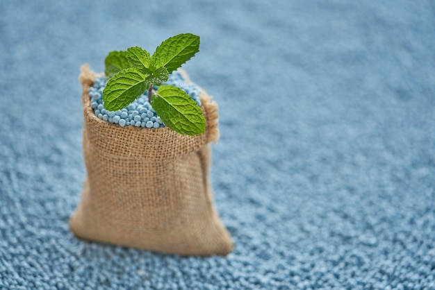 Fertilizer in sack with mint leave