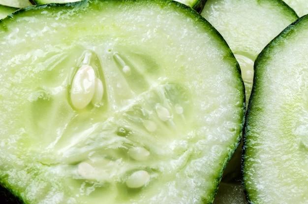 Fesh juicy slice cucumber, close up.