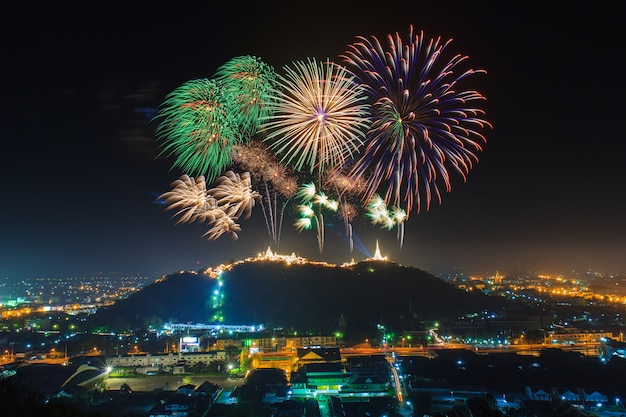 Festival firework annual at phetchaburi province,thailand