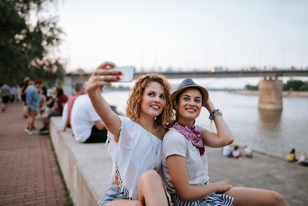 Festival girls making a selfie.
