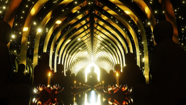 축하와 불교 현장에서 광고를위한 불교 배경을위한 빛의 축제