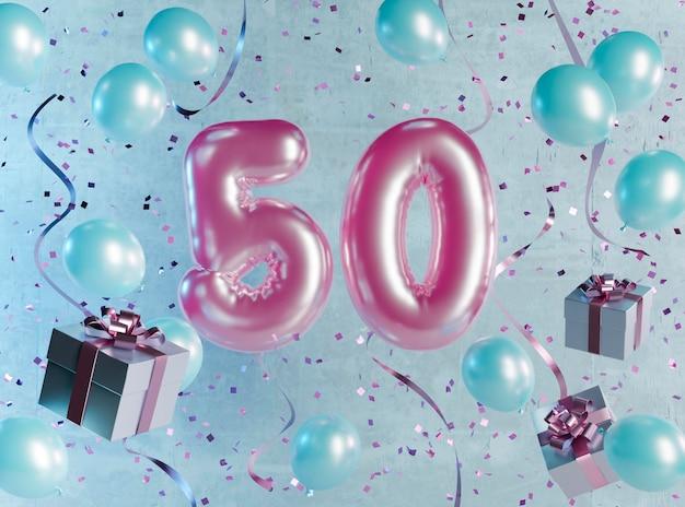風船でお祝いの50歳の誕生日のアレンジメント