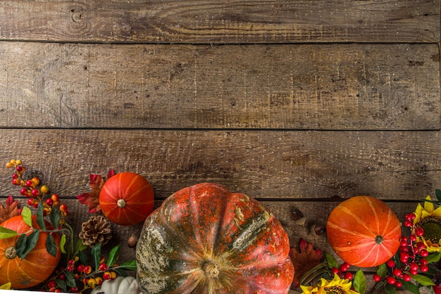 Festive autumn background with pumpkins, berries and fruits