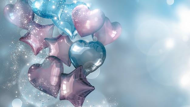 青とピンクの風船d画像とお祭りの背景