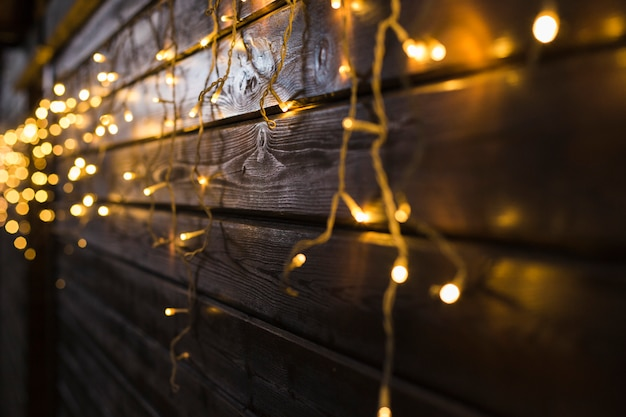 Festive background with light spots and on bokeh