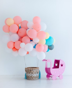 Festive balloons with basket