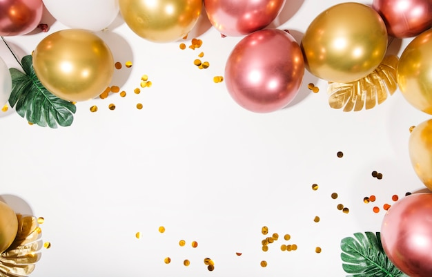 Festive or birthday party concept flat lay top view