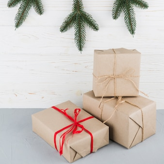 Festive boxes wrapped in kraft paper