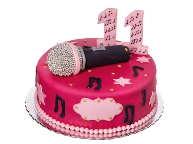 생일 소녀를위한 축제 케이크 마이크.
