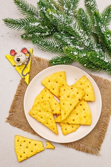 Festive cheese crackers