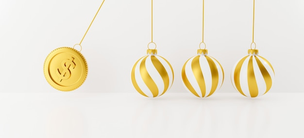 Festive christmas ball with 3d gold coin. balancing balls.