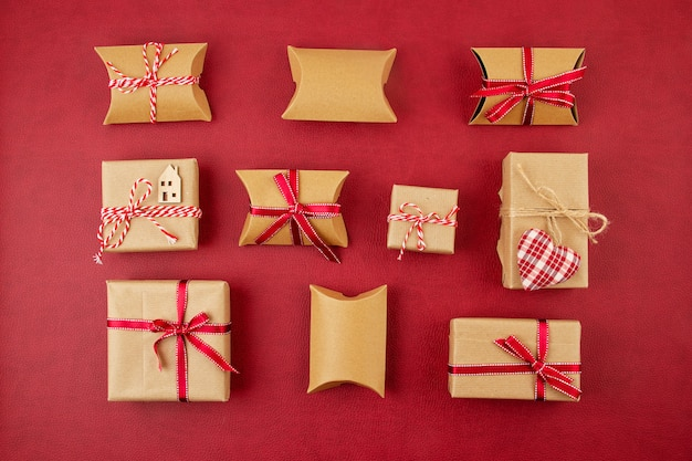 Festive christmas cardboard gift boxes made of recycled paper. environment friendly christmas