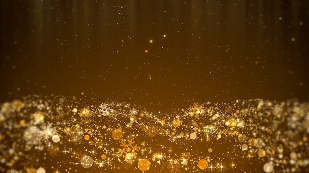 Festive christmas concept design of gold snowflakes snow stars and shiny lights background
