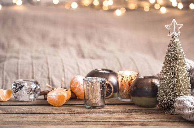 Праздничная новогодняя уютная атмосфера с домашним декором