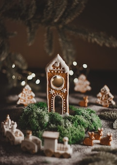 Festive christmas homemade gingerbread house concept holiday of christmas and happy new year