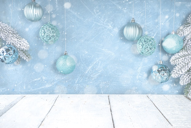 Festive christmas or winter decoration with blue silver xmas tree balls