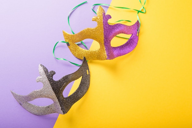 A festive, colorful group of mardi gras or carnivale mask. venetian masks.