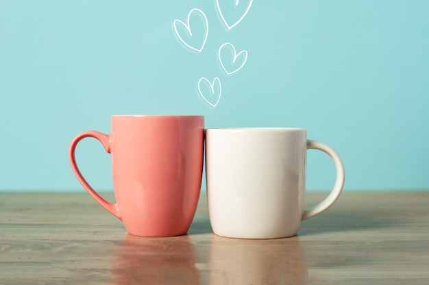 Festive composition for valentine's day from two mugs. banner.